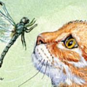 Cat And Dragonfly  Print by Svetlana Ledneva-Schukina