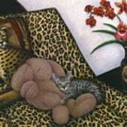 Cat Cheetah's Bed Print by Carol Wilson