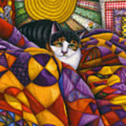 Cat In Quilts Print by Carol Wilson