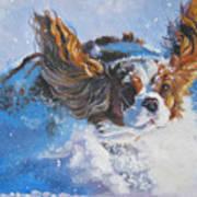 Cavalier King Charles Spaniel Blenheim In Snow Print by Lee Ann Shepard