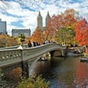 Central Park Autumn Cityscape Print by Allan Einhorn