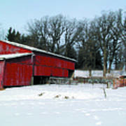 Century Farm Shed In Snow Watercolor Print by Laurie With