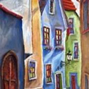 Cesky Krumlov Old Street Print by Yuriy  Shevchuk