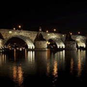 Charles Bridge At Night Print by Michal Boubin