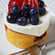 Cheese Cream Cake With Fruit Print by Garry Gay