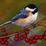 Cherries And Chickadee Print by Johnathan Harris