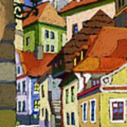 Chesky Krumlov Masna Street 1 Print by Yuriy  Shevchuk