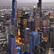 Chicago Loop Sundown Bw Color Blend Print by Steve Gadomski