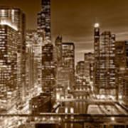 Chicago River City View B And W Print by Steve gadomski