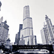 Chicago Trump Tower And Wrigley Building Print by Paul Velgos