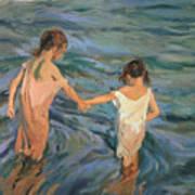 Children In The Sea Print by Joaquin Sorolla y Bastida