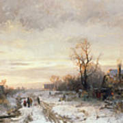 Children Playing In A Winter Landscape Print by August Fink