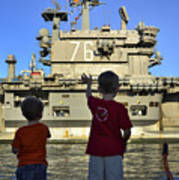 Children Wave As Uss Ronald Reagan Print by Stocktrek Images