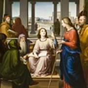 Christ Disputing With The Doctors In The Temple Print by Franz von Rohden