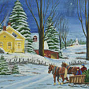 Christmas Eve In The Country Print by Charlotte Blanchard