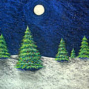 Christmas Trees In The Snow Print by Nancy Mueller