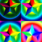 Chromatic Star Quartet With Ring Gradients Print by Eric Edelman