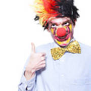 Circus Clown With Thumb Up To Carnival Advertising Print by Jorgo Photography - Wall Art Gallery