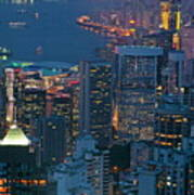 Cityscape From Victoria Peak Print by Sami Sarkis