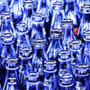 Coca-cola Coke Bottles - Return For Refund - Square - Painterly - Blue Print by Wingsdomain Art and Photography
