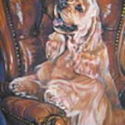 Cocker Spaniel On Chair Print by Lee Ann Shepard