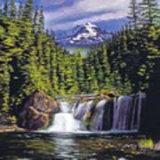 Cold Water Falls Print by David Lloyd Glover