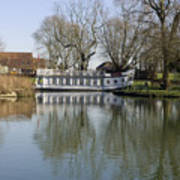 College Barge At Sandford Uk Print by Mike Lester