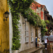 Colonial Buildings In Old Cartagena Colombia Print by David Smith
