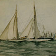 Columbia And Shamrock  America's Cup Print by Edward Hopper