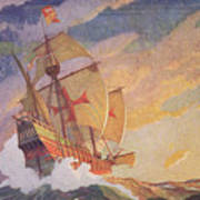Columbus Crossing The Atlantic Print by Newell Convers Wyeth