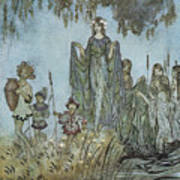 Comus Sabrina Rises Attended By Water-nymphs Print by Arthur Rackman