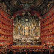 Concert Given By Cardinal De La Rochefoucauld At The Argentina Theatre In Rome Print by Giovanni Paolo Pannini or Panini
