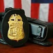 Contemporary Fbi Badge And Gun Print by Everett