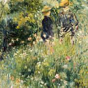 Conversation In A Rose Garden Print by Pierre Auguste Renoir