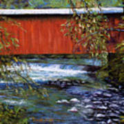 Covered Bridge And  Wissahickon Creek Print by Joyce A Guariglia