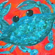 Crazy Blue Crab Print by JoAnn Wheeler