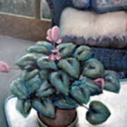 Cyclamen And Wicker Print by Michelle Calkins