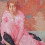 Dame En Rose Print by Edmond Francois Aman Jean