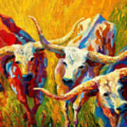 Dance Of The Longhorns Print by Marion Rose