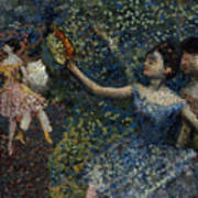 Dancer With A Tambourine Print by Edgar Degas