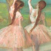 Dancers In Pink Print by Edgar Degas
