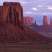 Dawn At Monument Valley Print by Sandra Bronstein