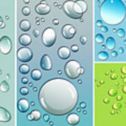 Different Size Droplets On Colored Surface Print by Sandra Cunningham