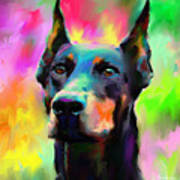 Doberman Pincher Dog Portrait Print by Svetlana Novikova