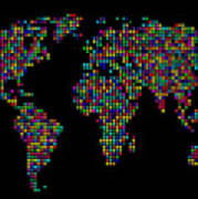 Dot Map Of The World - Multi Colours Print by Michael Tompsett