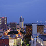 Downtown San Antonio At Night Print by Jeremy Woodhouse