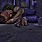 Drug Addict Shooting Up Print by Guy Viner