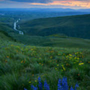 Dusk Over The Yakima Valley Print by Mike  Dawson