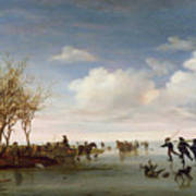 Dutch Landscape With Skaters Print by Salomon van Ruysdael