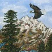 Eagle To Eaglets In Nest Print by Tanna Lee M Wells